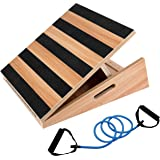 "Professional Large Size Wooden Slant Board, Adjustable Incline Board and Calf Stretcher - Bonus Resistance Band - Extra Side-Handle Design for Portability - 16"" X 18"", 5 Positions (450 lb Capacity)"