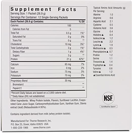 Amazon Com Thorne Research Whey Protein Isolate Packets Vanilla