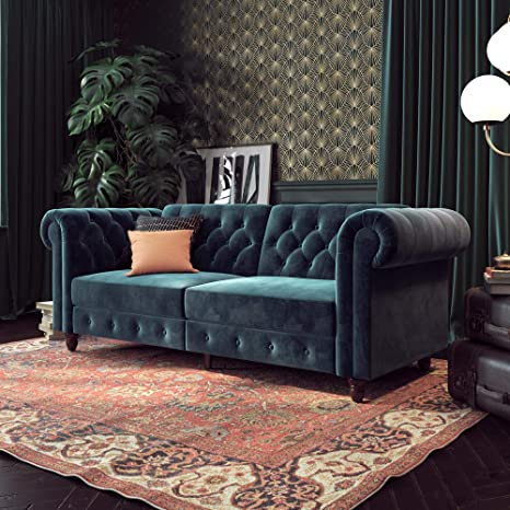 DHP Felix Chesterfield Sofa Futon, Blue Velvet
