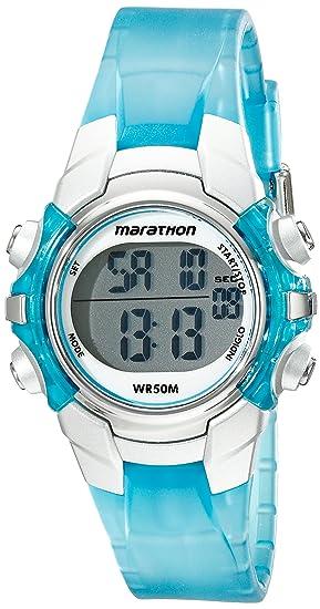 8f3c1c254 Marathon by Timex Unisex T5K817 Digital Mid-Size Light Blue/Silver-Tone  Resin