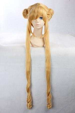 Cosplay peluca rubia peluca extra larga peluca rizada rubia Tsukino Usagi sailor moon Princesa Serenity Pelucas