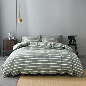 JELLYMONI Striped 100% Washed Cotton Duvet Cover Set, 3 Pieces Luxury Soft Bedding Set with Buttons Closure, Green Stripes Pattern Duvet Cover King Size(No Comforter)