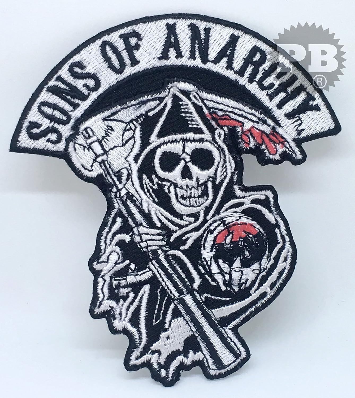 # 1329Sons of Anarchy Tête de mort motard pour homme fer à repasser sur coudre sur patch brodé Embrologos