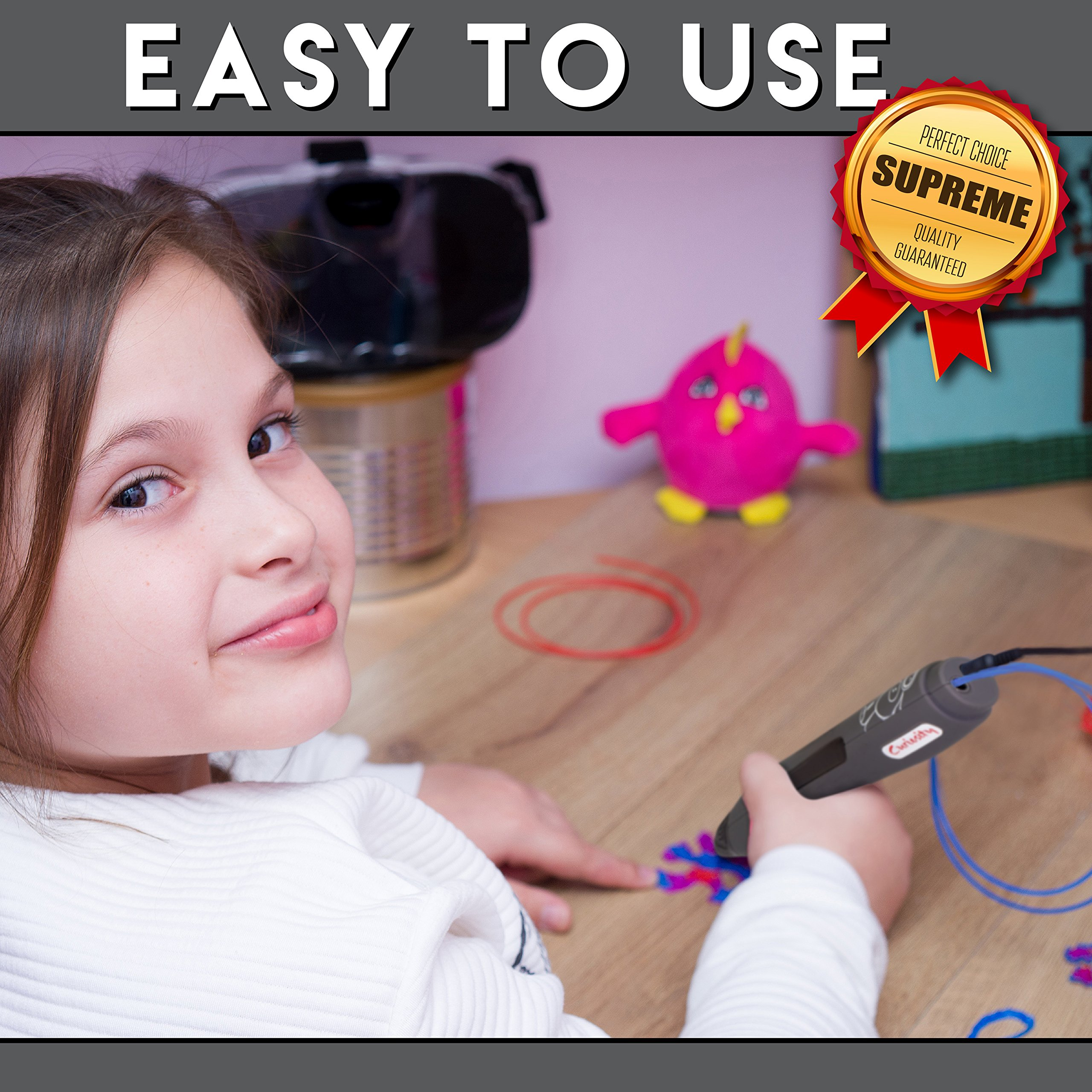 3D Printer Pen - Simple & Fun 1 Button Operation 3D Pen for Kids, Teens and Adults - Includes Two PLA Filaments, USB & BONUS Safety Shovel Tool by Curiosity