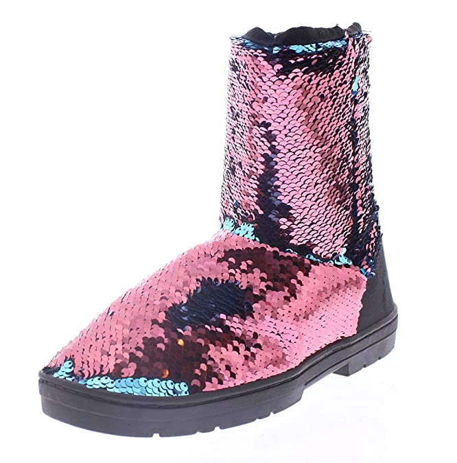 12d450e0425 Womens Sparkle Boots with Reversible Sequin,Winter Boot for Women,Short Mid  Calf