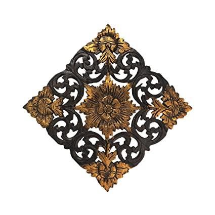 Amazon.com: AeraVida Thai Lotus Flower 2 Tone Hand Carved Relief ...