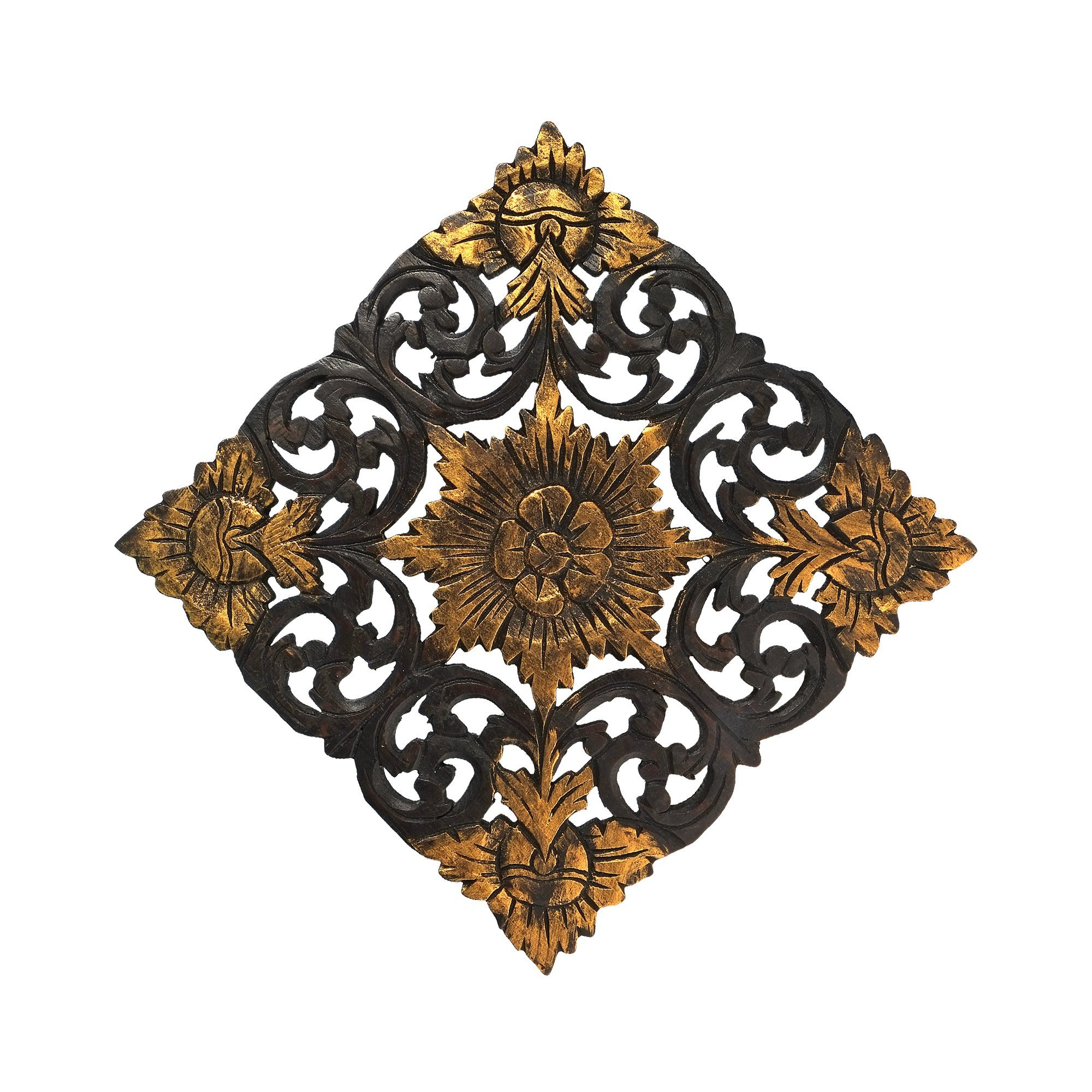 AeraVida Thai Lotus Flower 2 Tone Hand Carved Relief Panel Teak Wood Wall Art by AeraVida