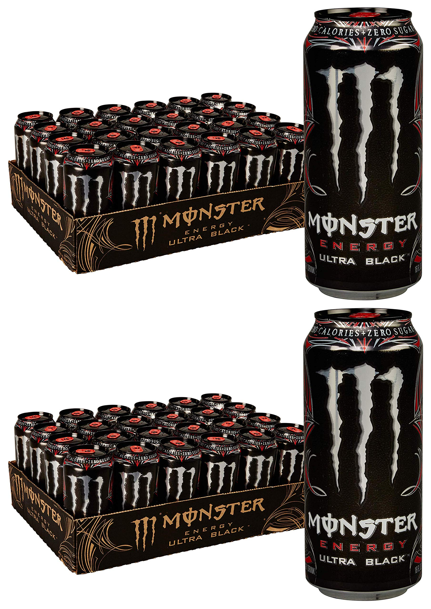 GQZDABAB Ultra Black, Sugar Free Energy Drink, 16 Ounce, 2 Cases of 24 Cans
