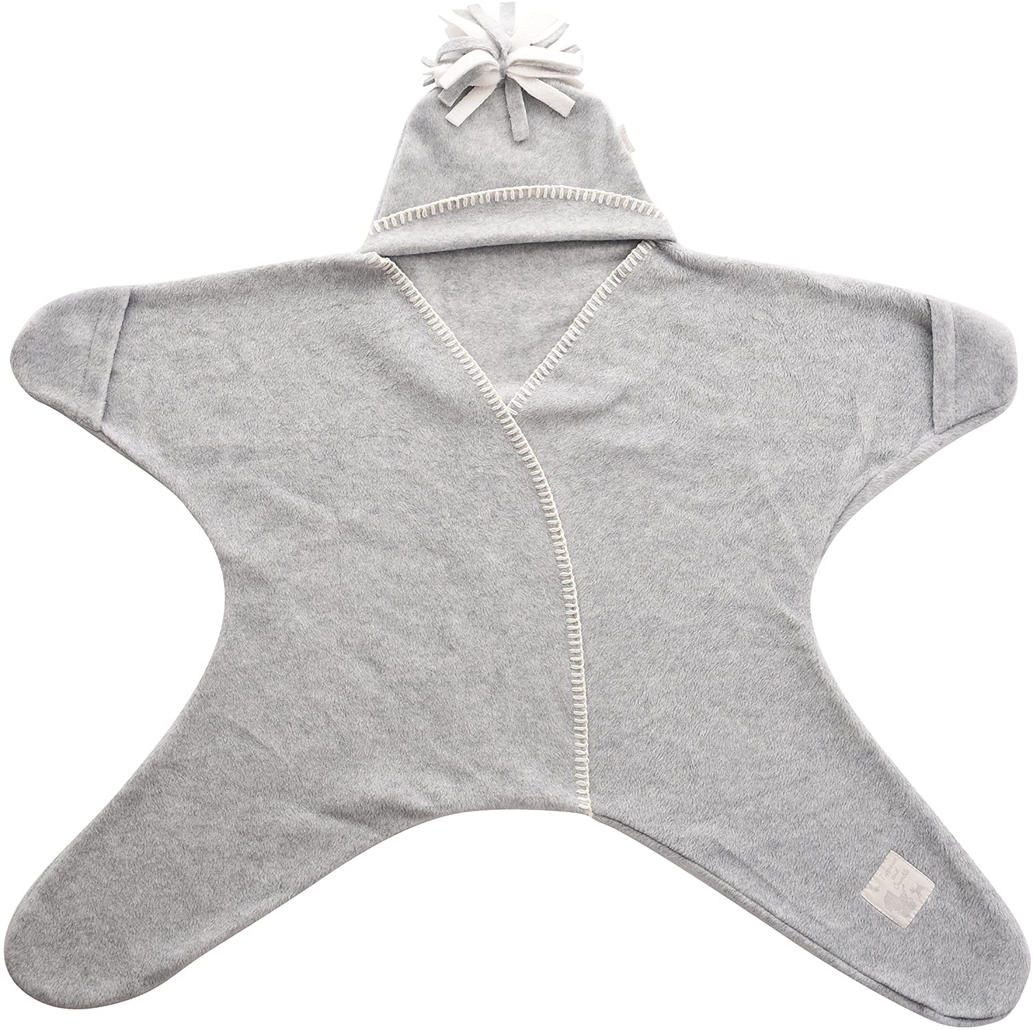 Tuppence and Crumble Star Baby Wrap Dove Grey Size Large