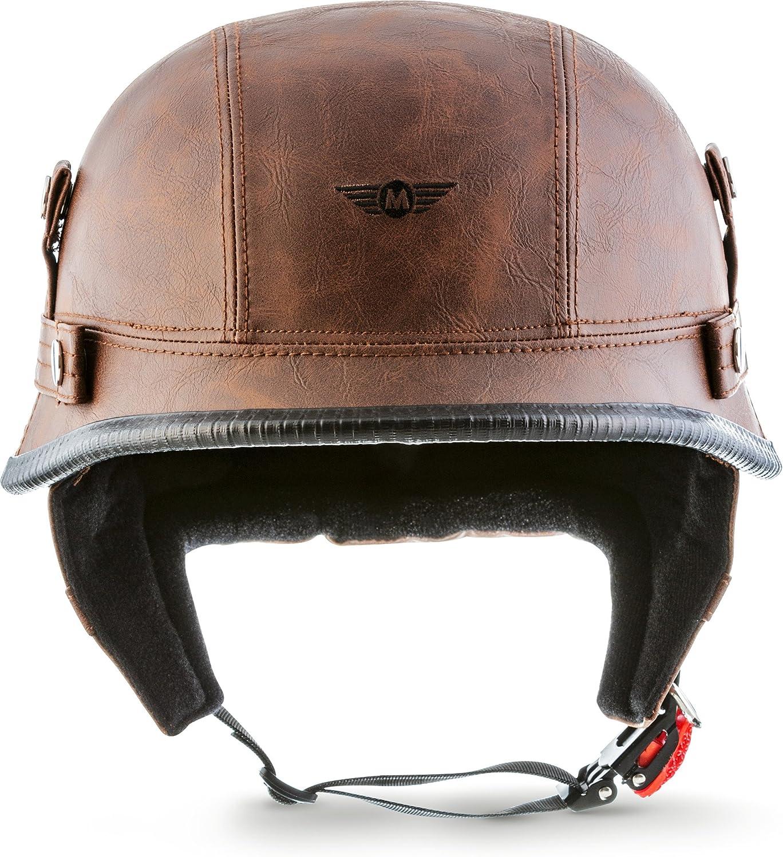 Casco cruiser in pelle stile vintage Moto Helmets D33/ con borsa per il trasporto