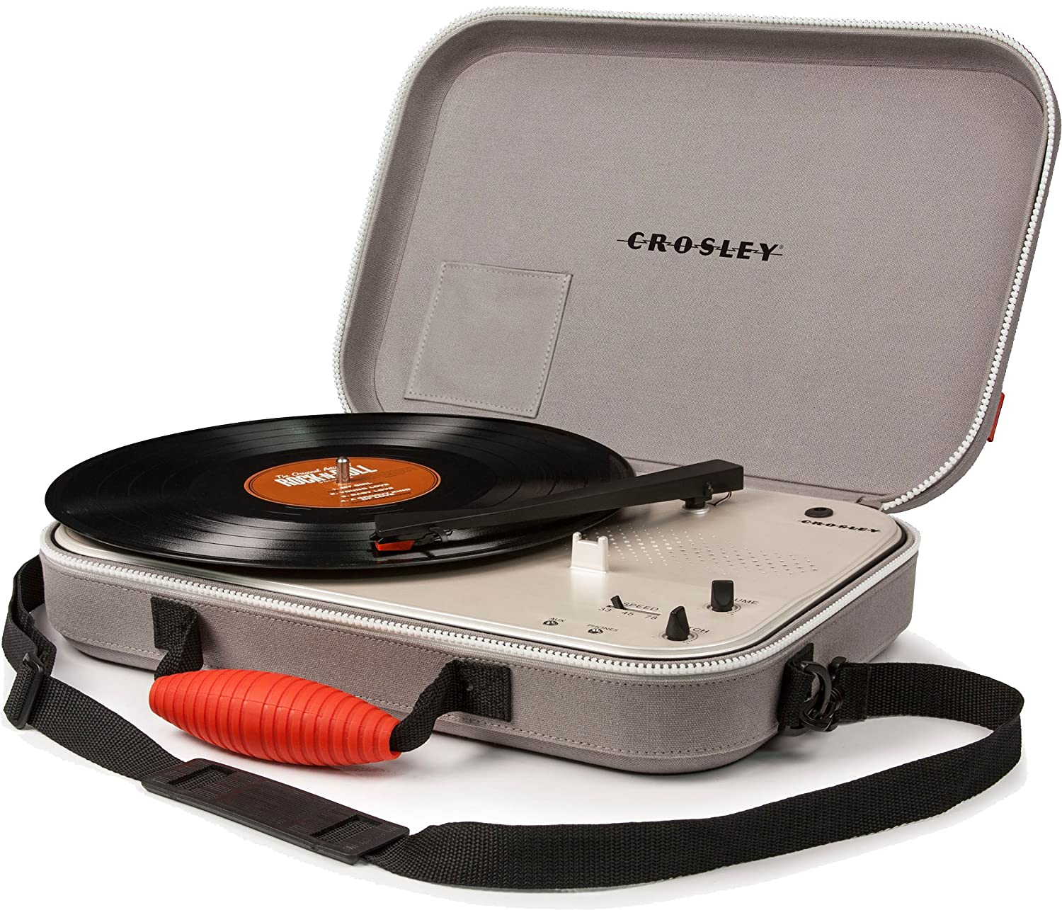 Amazon.com: Crosley CR8016A GY Messenger Portable Battery Powered 3 Speed  Turntable, Gray: Home Audio U0026 Theater