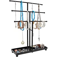 Modern Metal 3 Tier Tabletop Bracelet & Necklace Jewelry Organizer Display Tree Rack w/ Ring Tray