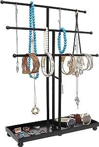 Modern Black Metal 3 Tier Tabletop Bracelet & Necklace Jewelry Organizer Display Tree Rack w/Ring Tray