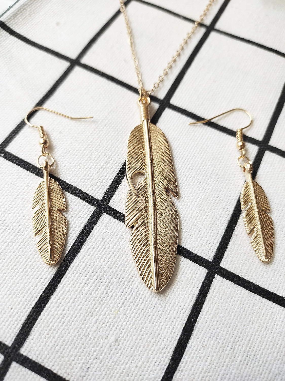 RUIZHEN Simple Leaf Feather Long Chain Sweater Necklace Women Girls Fashion Jewelry