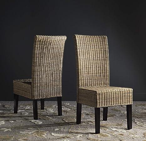Amazon Com Safavieh Home Collection Arjun Grey Wicker 18 Inch Dining Chair Set Of 2 Furniture Decor