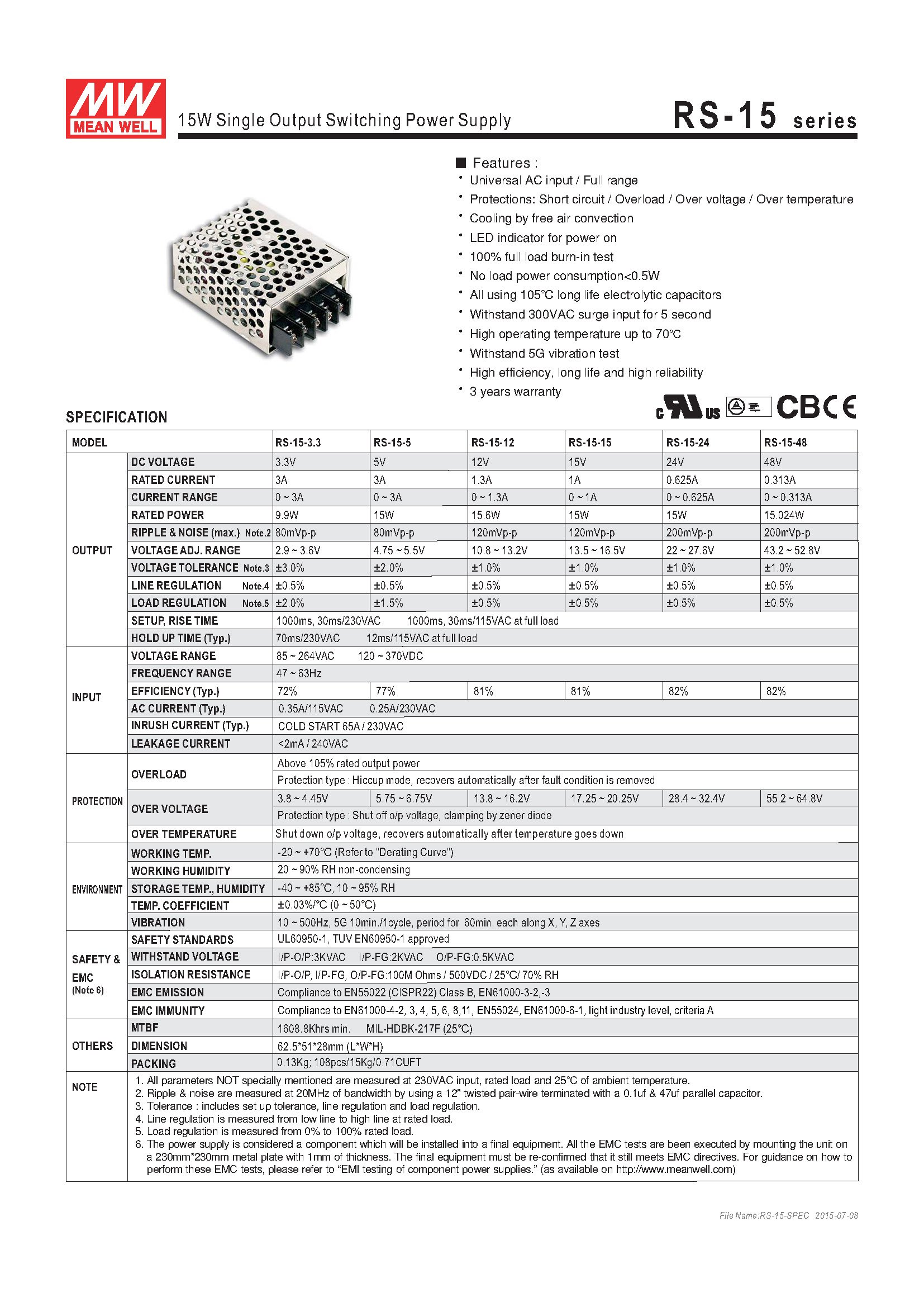 MEAN WELL original RS-15-24 24V 0.625A meanwell RS-15 24V 15W Single Output Switching Power Supply