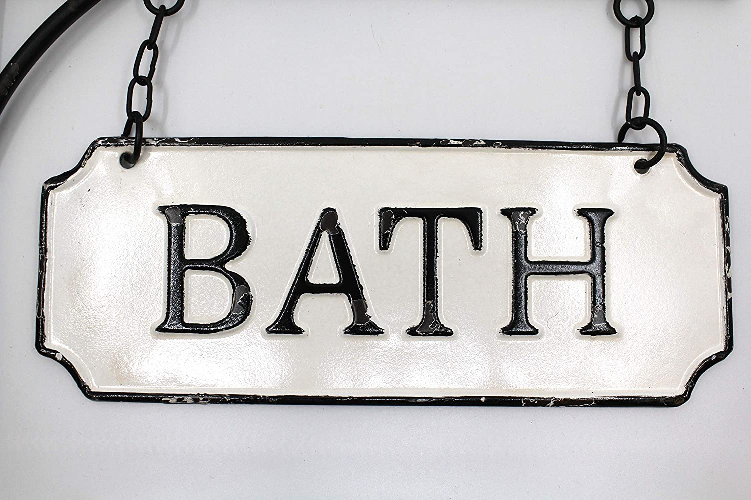 Silvercloud Trading Co. Rustic Hanging Double-Sided Bath Embossed Black on White Enamel Metal Sign with Bracket - Wall Decor - Room Label