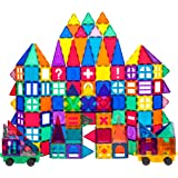 PicassoTiles 180 Piece Set 180pc Building Block Toy Deluxe Construction Kit Magnet Building Tiles Clear Color Magnetic…