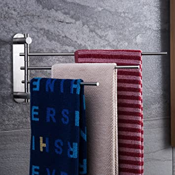 CEINTER Schwenkbarer Handtuchhalter Ohne Bohren Stark Kleber 3-Arme  Faltbarer Handtuchstange Bad, Edelstahl