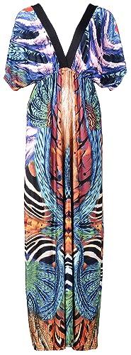 QZUnique Women's Batwing Sleeve Plus Summer Exotic Beach Dress Bohemian Sundress