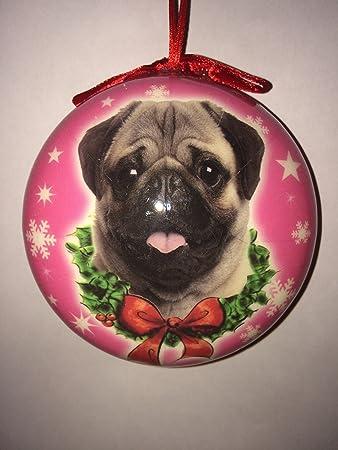 Mops Bilder Weihnachten.Amazon De Mops Hund Weihnachten Kugel Mit Rosa Backgound