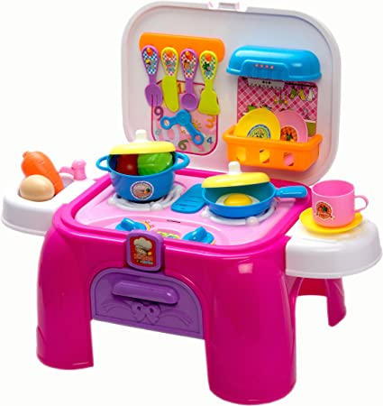 Amazon Com Giggeleez Kids Kitchen Cooking Set Toy With Play Food