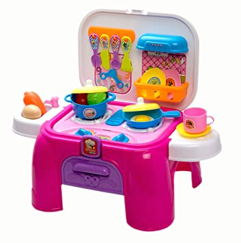Buy Kids Kitchen Cooking Set Toy With Play Food Kitchen Utensils Lights And Sounds Folds And Stores Accessories Inside For Easy Storage Or To Take On The Go Small Sized Online At