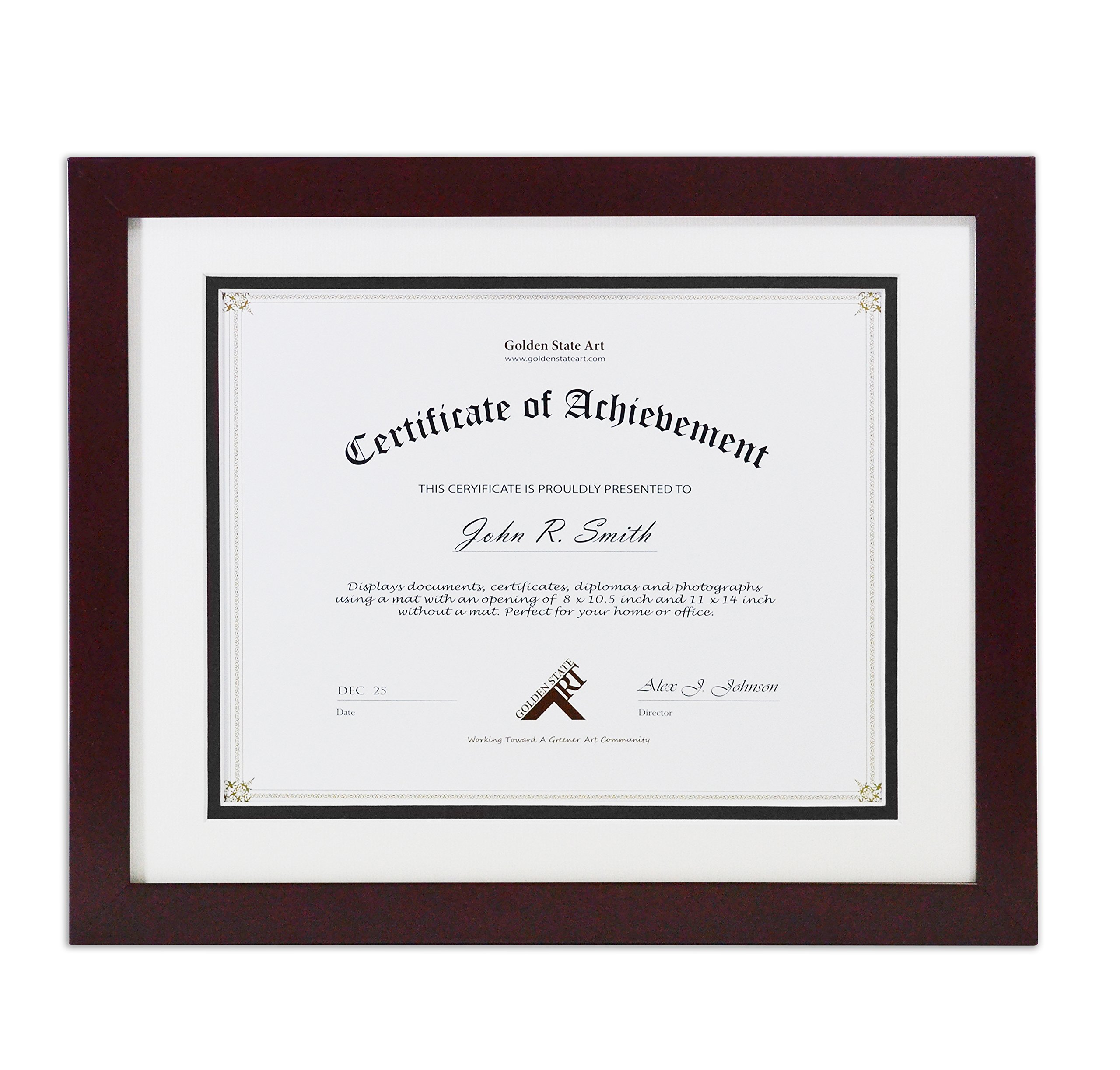 Golden State Art, Document/Photo Wood Frame for Document & Certificates, Real Glass (11x14 Frame for 8.5x11, Mahogany… - Certificate, Document, Photo Wood Frame with outside frame size 12.5x15.5 inches. The frame can fit pictures/documents 11x14 (without Mat) Or 8.5 x 11.5 (with Mat). Includes a White Core Double Mat. Color: White/Black with opening size: 8 x 10.5 - picture-frames, bedroom-decor, bedroom - 91IW5Lii9QL -
