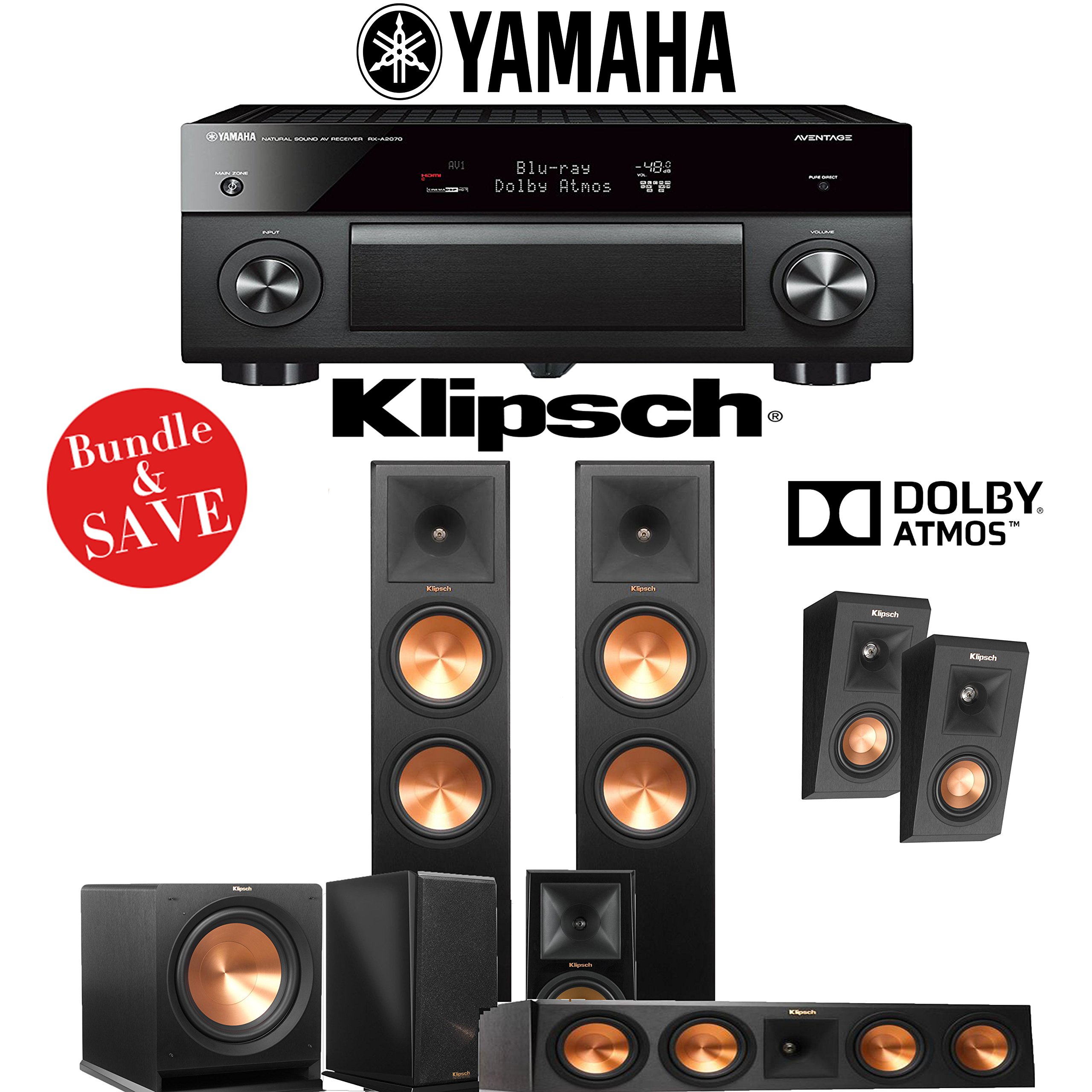 Klipsch RP-280F 5.1.2-Ch Reference Premiere Dolby Atmos Home Theater System with Yamaha AVENTAGE RX-A2070BL 9.2-Channel Network A/V Receiver