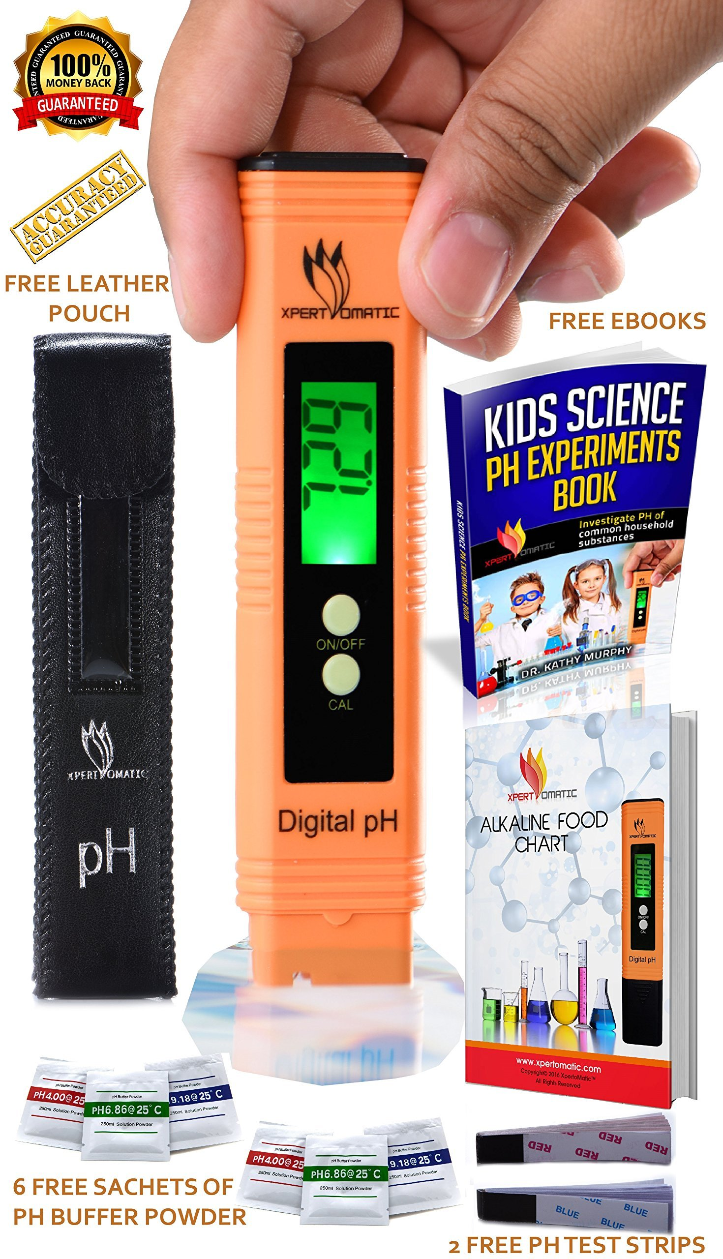 BLOWOUT OFFER - Digital pH Meter Kit | High Accuracy pH Tester Range 0-14 | Hydroponics, Aquarium, Swimming Pool, Water Quality Test with ATC | 6 Sachets of pH Buffer Solution Powder | Extra Battery