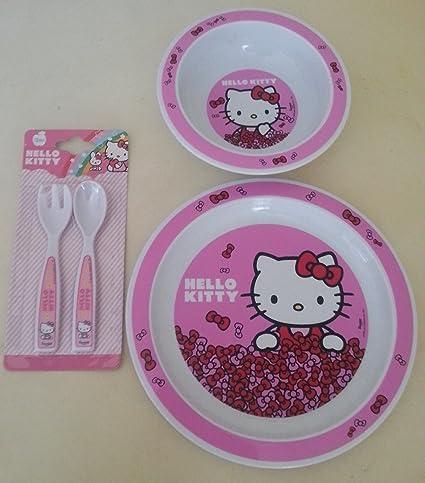 Hello Kitty rosa comida – Juego de 2 piezas de cubertería, plato y bowl.
