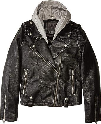 e90c0af01ce9 Amazon.com  Blank NYC Kids Girl s Vegan Leather Moto Jacket w Grey ...