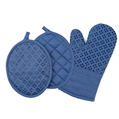 Sticky Toffee Printed Silicone Oven Mitt and Pot Holders, 100% Cotton, 3 Piece Set, Dark Blue