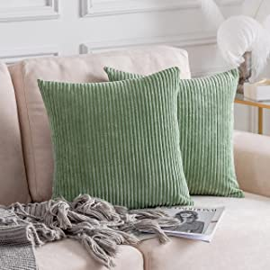 Home Brilliant Couch Throw Pillow Covers Super Soft Corduroy Large Euro Sham for Bedroom, Set of 2, 26x26 inches(66cm), Sage Green