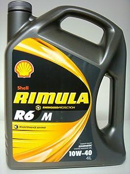 Shell - Rimula r6 m 10w40 lubricante 100% Tejido de Motores diésel sintético bidón para filtrado de Agua 4 litros de Euros/8,00 lt: Amazon.es: Coche y moto