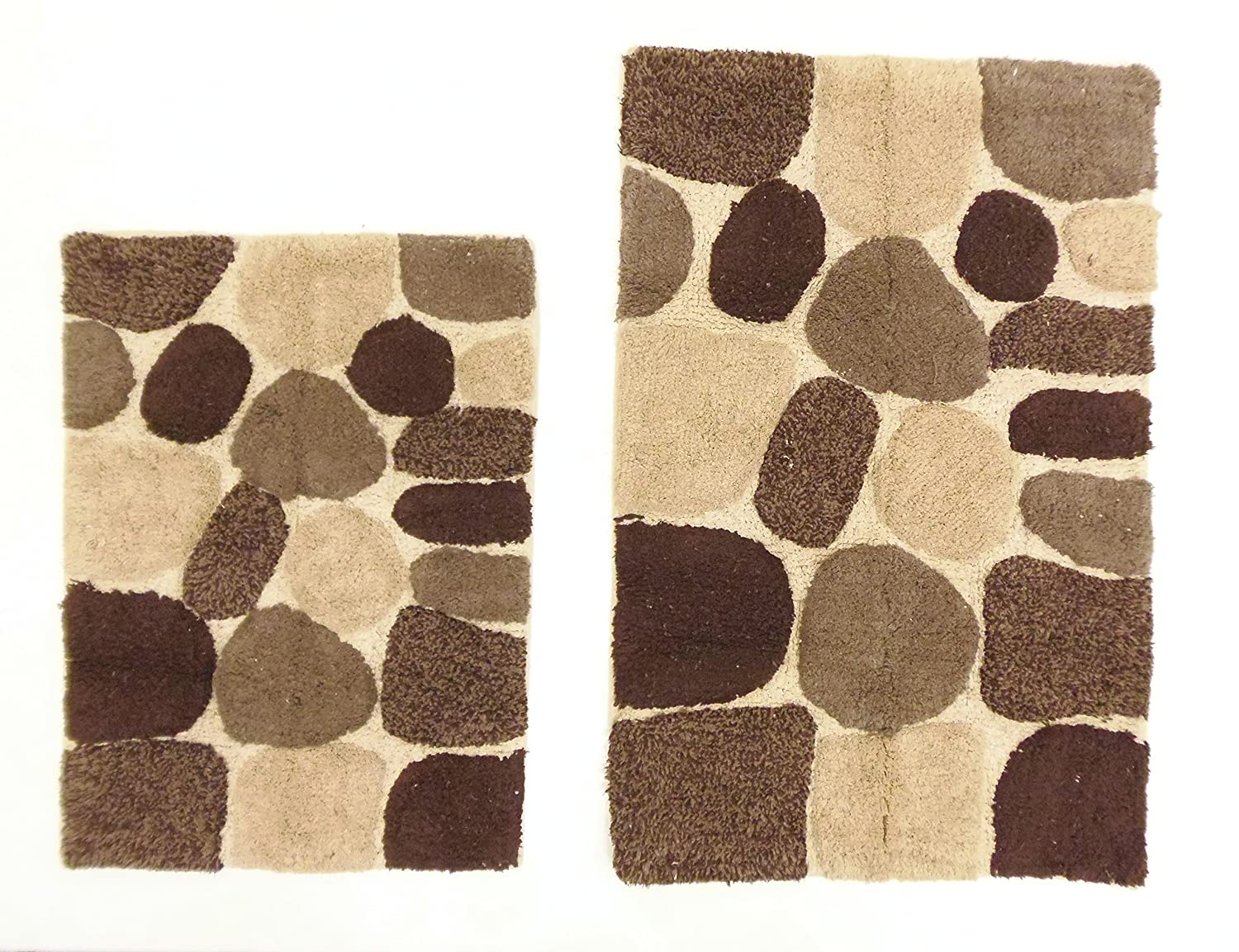 Amazon.com: Cotton Craft - 2 Piece Bath Rug Set - Pebbles Stones ...