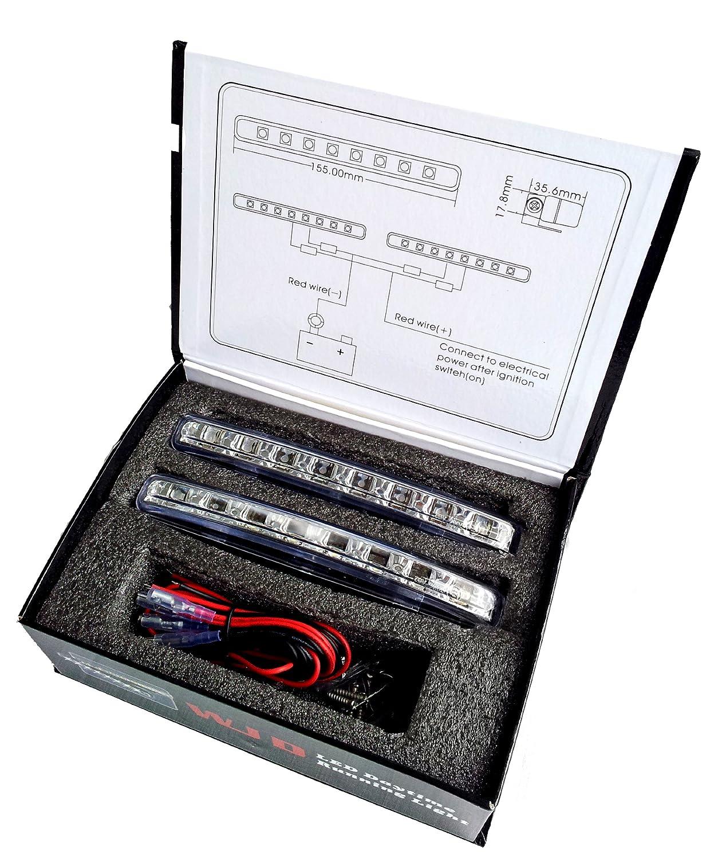 WJD LED Tagesfahrlicht mit superhellen chrom Xenon Wei/ße LEDs mit R87 Zulassung