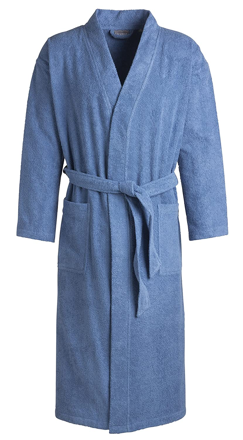 Egeria, Topas unisex bathrobe in kimono style, for men and women, Cotton, Black, Small 011008