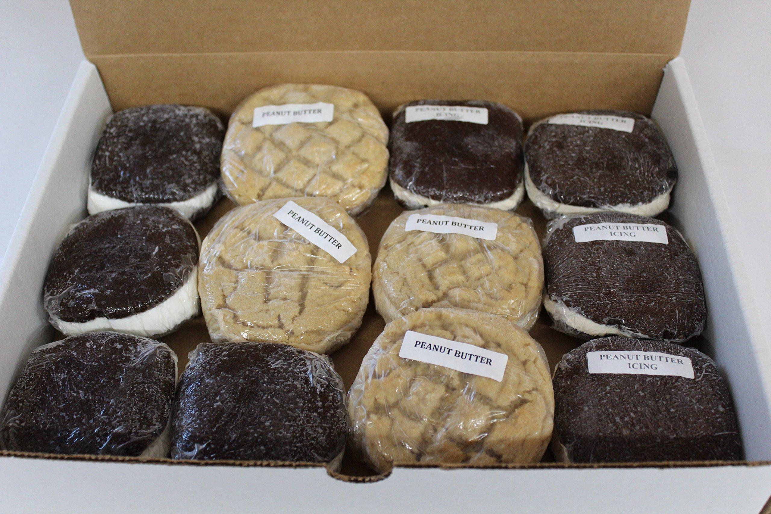 Bird-in-Hand Bake Shop Chocolate Peanut Butter Lovers Whoopie Pies, Favorite Amish Food (Pack of 12)