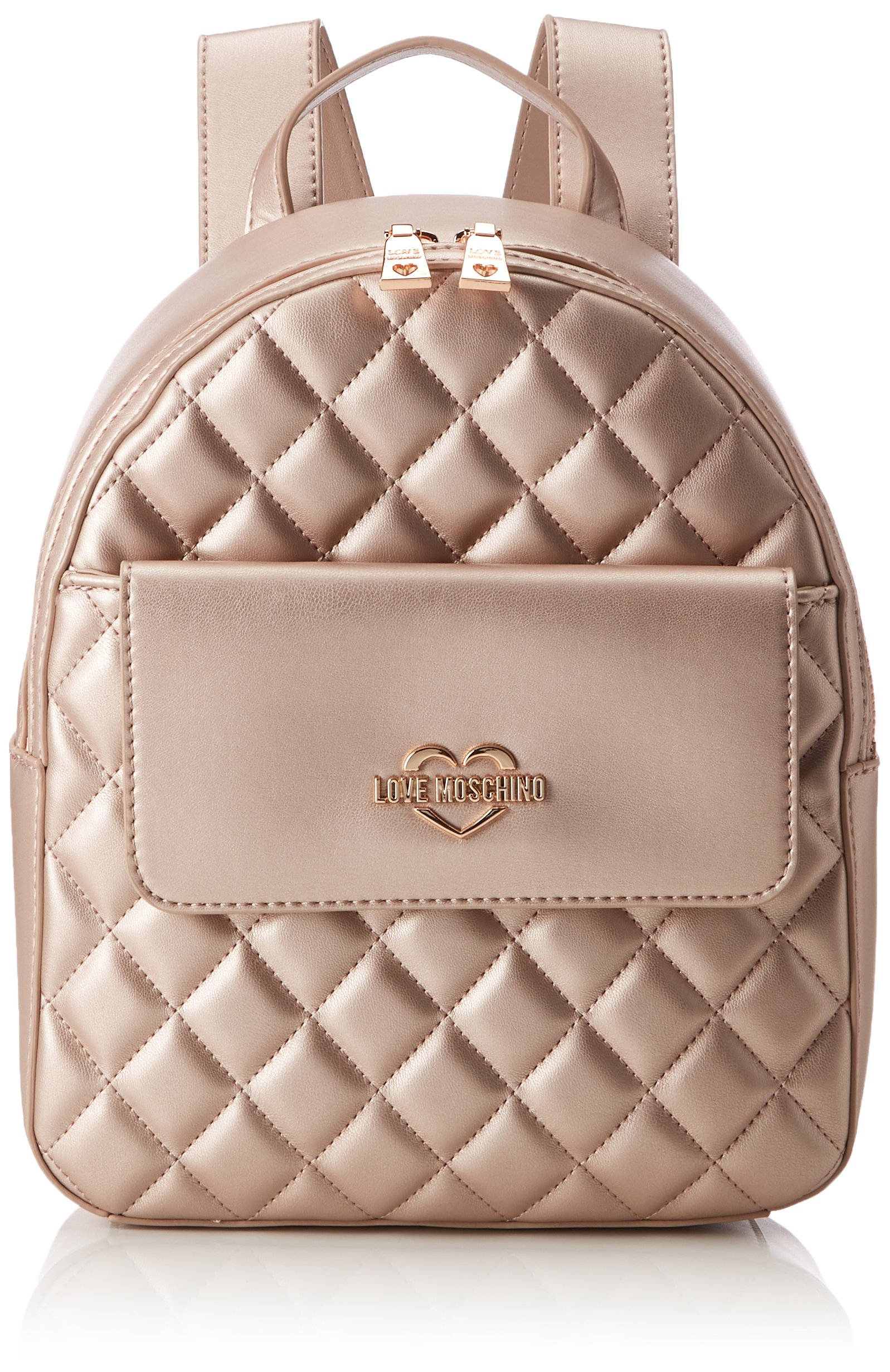 LOVE Moschino Women's Metallic Quilted Backpack Beige One Size