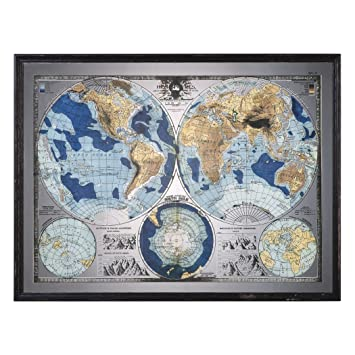 Amazon vintage style world map mirror wall art blue brown vintage style world map mirror wall art blue brown globe antique artwork gumiabroncs Images