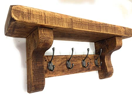 Reclaimed Style Vintage Coat Rack With Shelf Hand Made Rustic Cast Impressive Vintage Style Coat Hook Rack With Shelf