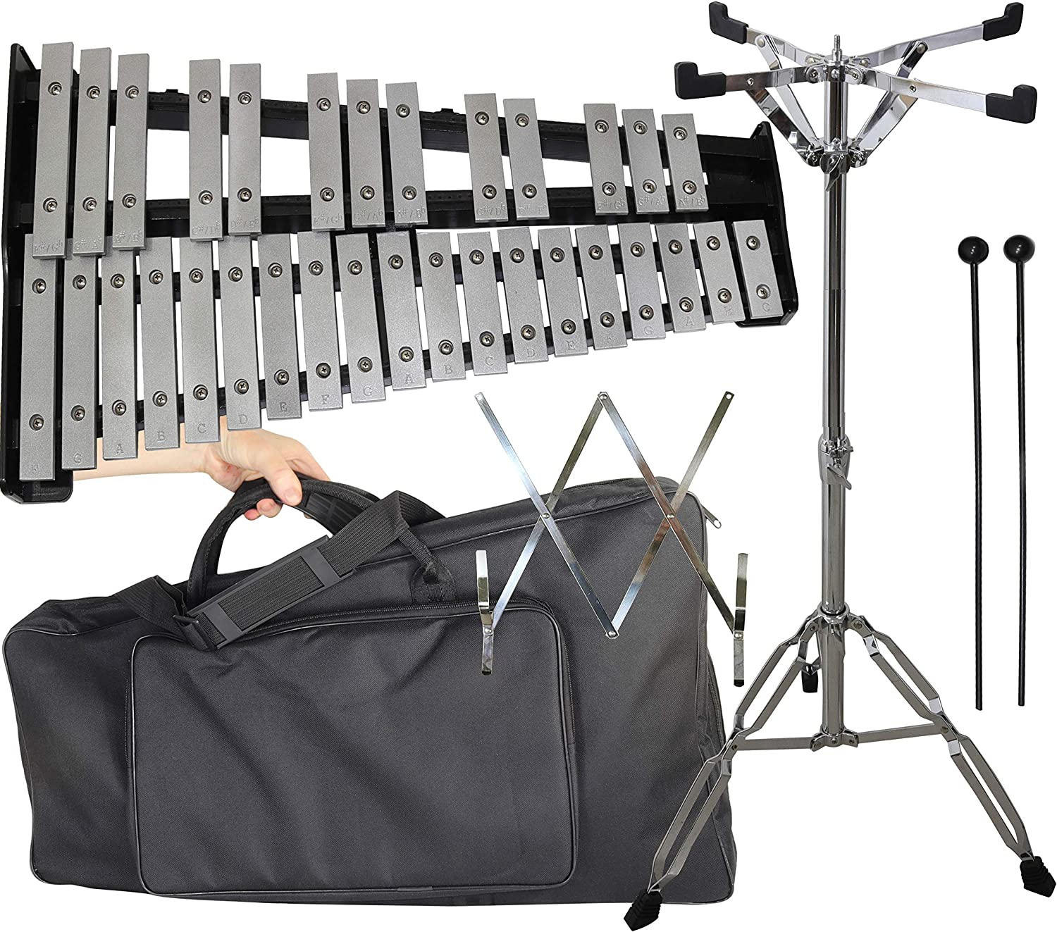 32 keys Glockenspiel Professional xylophone with Stand, Bag, Note Holder, Rubber Mallets