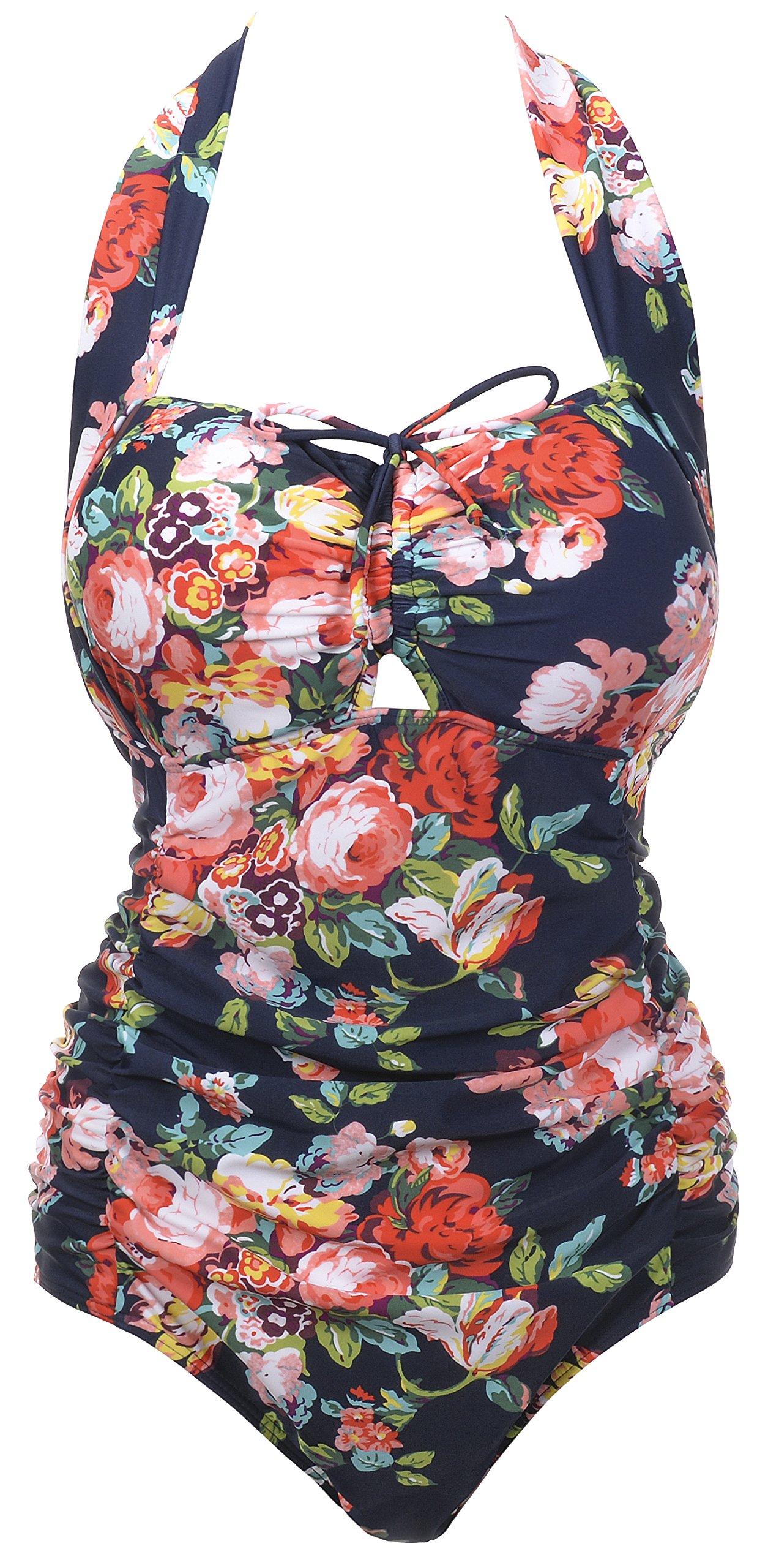 QZUnique Women's Retro Vintage One Piece Swimwear Floral Monokinis Plus Size Navy US XXL