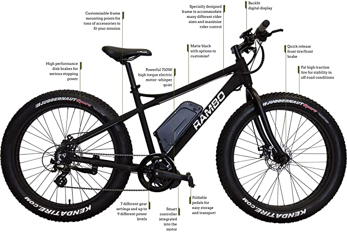 6df8bfc896d Amazon.com : Rambo R750 Power Bike (Matte Black) : Sports & Outdoors