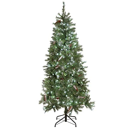 quality design 798c7 7d416 WeRChristmas 6 ft Slim Frosted Pre-Lit Christmas Tree with Berries Pine  Cones and 200-LED Lights, White