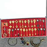 Sunkee Nouveau Fairy Tail Cosplay Constellation Porte-clés Chaîne Pendentif Zodiac Lucy Porte-clés en Boîte Colorée Ensemble de 35 (Porte-clés A)