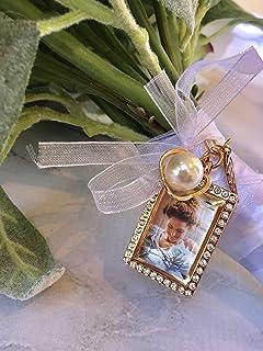 Amazoncom Wedding Bouquet Brides Gold Photo Charm Rhinestone Oval