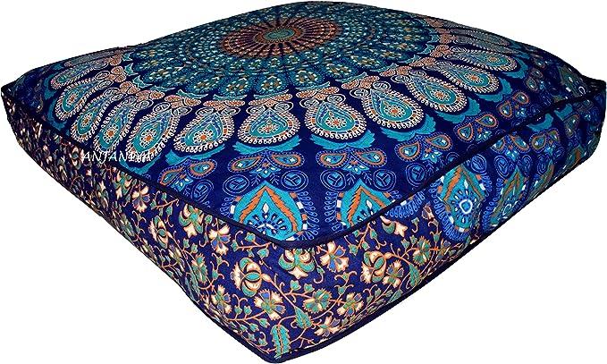 Anjaniya 35 X35 Mandala Bohemian Yoga Meditation Large Square Dog Bed Outdoor Floor Pillow Cover Couch Seating Cushion Throw Hippie Decorative Boho Indian Ottoman Blue Amazon Ca Sports Outdoors