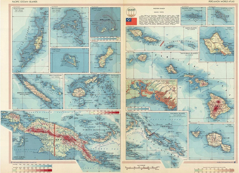 Palau New Guinea Tahiti Hawaii 1967; Fiji Pacific Islands Map Midway Guam